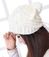 2013 New Fashion Knitted hat autumn and winter fashion thermal women's hat hats for Women Winter Hat Pink White Yellow Free Ship