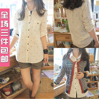 2013 autumn women's small fresh all-match print long-sleeve shirt anchor e21