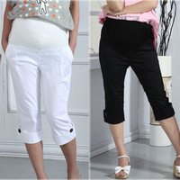 Summer maternity clothing stretch cotton maternity belly pants capris skinny pants white casual trousers hot sale plus size xxl