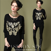 2013 Fashion Plus Size L XL,2XL,3XL,4XL,5XL Thicken Velvet Women Lordliness Gold Stamp Batwing Sleeve Blouse Free Shipping