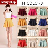Free shipping 2014 New Fashion Women's Skater Girl's Candy Elastic High Waist Skater Mini Skirt 11 Colors High quality