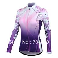 Purple MTB bicycle bike Women Cycling Jersey Long Sleeve Cycling Clothing racing wear S M L XL Free shipping