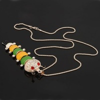 1pc Women Rhinestone Enamel Worm Pendant Long Alloy Chain Sweater Necklace 62701