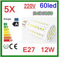5pcs Ultra bright  E27 12W  220V SMD5050  60led High Power Led Corn Bulb 360 Angle White/Warm White Led  Lights Free Shipping
