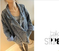 Korean version Fashion star sweet girl Bat sleeve large pockets Loose style Denim Jacket BL019