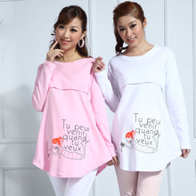 spring and autumn maternity clothing cotton print casual loose tops nursing loading plus size t-shirt long sleeve tees sleepwear(China (Mainland))