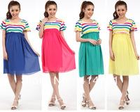 2014 cotton chiffon multi-colored novelty dress maternity clothing summer fashion pregnant women one-piece dress short sleeve XL