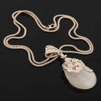 1pc Women Rhinestone Cat Eye Opal Waterdrop Pendant Long Alloy Chain Sweater Necklace 62705