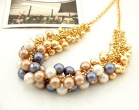 ZH0766 Min.order is $10 (mix order) Korean jewelry fashion all-match golden pearl multi-element fashionista necklace