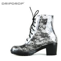 Freeshipping New arrival dripdrop elegant noble high-heeled lace martin transparent rainboots rain boots