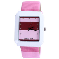 Free shipping white rectangle case pu leather quartz women watch sport brand crystal diamond new design fashion promotion sale