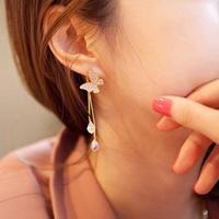 1 pair Free shipping Korean women Jewelry rhinestone butterfly crystal drop tassel earrings E057