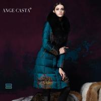 Christmas promotion 2013 winter luxury fox large fur collar down coat female long design thickening women's print slim down