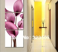 3 panel canvas wall art Modern abstract three piece corridor pink floral oil painting set on canva home decoration free shipping
