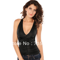 2013 new women's T-shirt, European  fashion sleeveless lace deep V sexy lady T-shirt