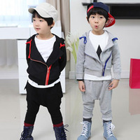 2013 autumn side zipper child clothing boys sweatshirt harem pants set tz-0960