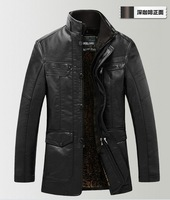 new winter  PU leather jacket for men with inner luxury  fur coat 2colors  free shipping