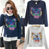 2013 New Autumn-summer Women Embroidery Animal Tiger Hoodies Long Sleeve Cotton Thicken Sport Suit Women Pullover Sweatshirt