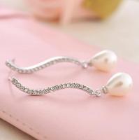 1 pair Free shipping Christmas gift Imitate pearl earrings,beautiful jewelry gift to girlfriend E048