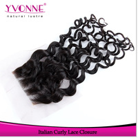 Italian Curl Lace Top Closure 4x4,Brazilian Remy Human Hair Closure,10-20 Inches,High Quality Alixpress Yvonne Hair Products
