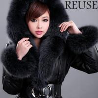 Reuse 2013 women's long design luxury detachable blue fox fur collar fur luxury plus size high quality down coat