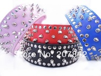 2 Inch Wide Personalized Spiked PU Leather Large Dog Collar For Pitbull German Shepherd Free Shipping
