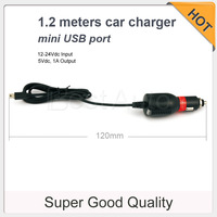 High quality 1.2 meters car truck SUV charger power cord with mini USB port for DVR/GPS etc 1.2m 1.5A