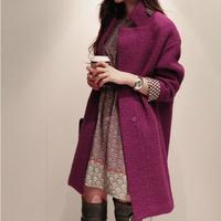 2013 new autumn winter elegant coat women's coats long woolen coat women Slim thick warm wool coat women tops AS0107