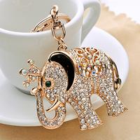 free shipping 1pcs Rhinestone lucky elephant keychain key chain bags pendant car keychain birthday gift