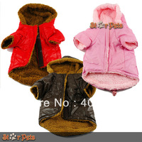 Brown  color Dog Coat Puffer Hoodie Pet Winter Coat Puppy Jacket  Padded Dog Clothes Fur Lined