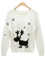 Autumn Top New Stylish Fashion Women's Casual Beige Long Sleeve Deer Snowflake Pattern Sweater