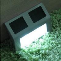 Free shipping by DHL  Garden Path Wall Light street Lamp Outdoor Solar 2 LED White Stairways Landscape  solar garden light