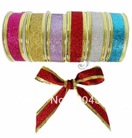 Christmas Ribbon 25mm Crafts Ribbon Grosgrain Wrapping Christmas Tree Birthday Wedding Gift Adornment Bronzing Powder Ribbons