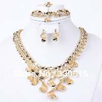 2014 new arrival Dubai 18K Gold Plated stainless steel  Fashion Wedding Bridal accessories african gold plating jewelry set