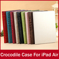 10pcs/lot Wholesale Bulk Crocodile PU Leather Case For iPad Air Luxury Stand Smart Cover Bag For Apple iPad5 FREE SHIPPING
