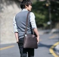 Check messenger bag male ol fashion business bag general bags ultra-thin package