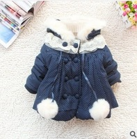2013 girls polka dot print winter jackets wholesale kids solid coat children cotton wadded outwear winter clothes