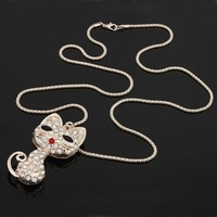 1pc Women Rhinestone Capuchin Cat Pendant Long Chain Sweater Necklace 62693
