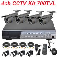 Free shipping 4ch cctv kit whole cctv system installation sony 700TVL cctv security surveillance video camera 4ch full D1 HD DVR