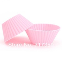 30pcs/lot Useful Pink Microwaveable Silicone Muffin Baking Cake Cup Fashion Cake Mold/Cupcake Mold For Home Cooking DIY 670047