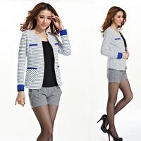 2013 Autumn  Fashion Women's Korea Style Long-sleeve Slim Stripe Suit Blazer Coat Female Jacket Outcoat Outerwear Free Shipping