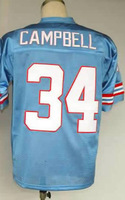 #34 Earl Campbell Men's Authentic 1980 Team Blue Throwback Football Jersey