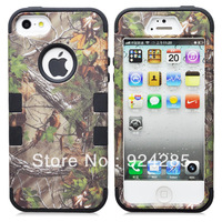 Free Shipping Realtree Series Green Forest Camo 2IN1 Hybrid Combo Snap On Case for IP 5S