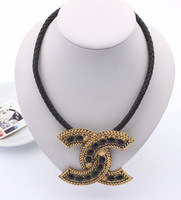 Min.Order $15 (Mix Wholesale) Factory Outlet Jewelry, Europe Diamante Letter CC Style Women Necklaces,N391