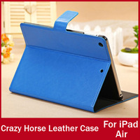 Luxury High Quality Crazy Horse Leather Case For iPad Air Credit Card Holder Stand Magnetic Cover For iPad 5 HOT SELLING