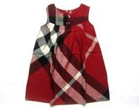 Baby Kids Children's Girls Lovely Sequins Collar Sleeveless Vest Princess  plaid Dress free shiping