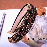 Top fashion women high quality hair bands rhinestone headband luxury crystal diamond broad brimmed hairbands