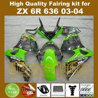 7gifts green black fairings for KAWASAKI ZX6R 636 03-04 ZX-6R 2003-2004 6R 03 04 ZX 6R 2003 2004 motorcycle fairing kit HH221