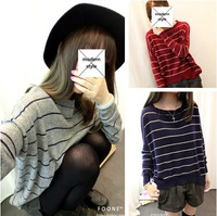 Vintage all-match classic stripe multicolor loose knitted sweater d19
