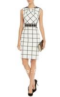 Free shipping Classic Black and White Plaid Print Ruffle Collar Was Thin Waist Back Zipper Dresses DR224